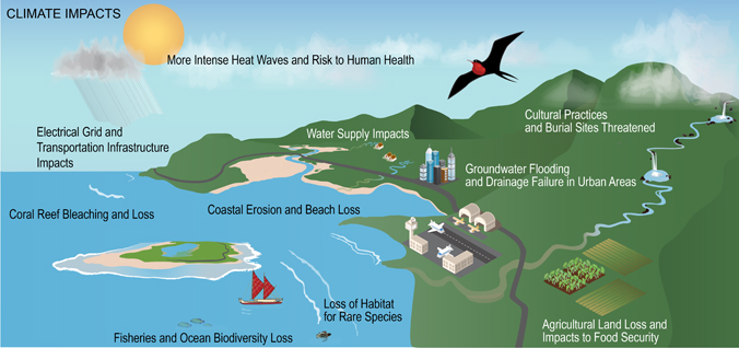 illustration of an island and coastline with climate change impacts labeled