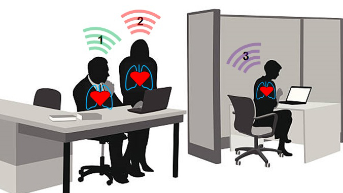 Illustration of people working and heart sensors.