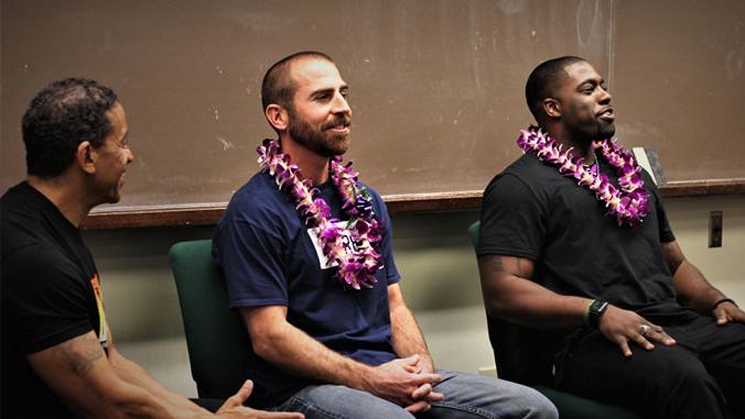 Photo of Ken Lawson, Uriah Courtney and Brian Banks at law school.