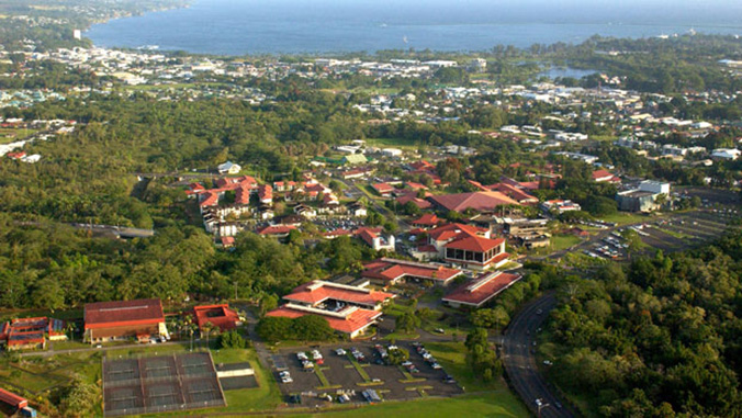 Aerial view of U H Hilo campus