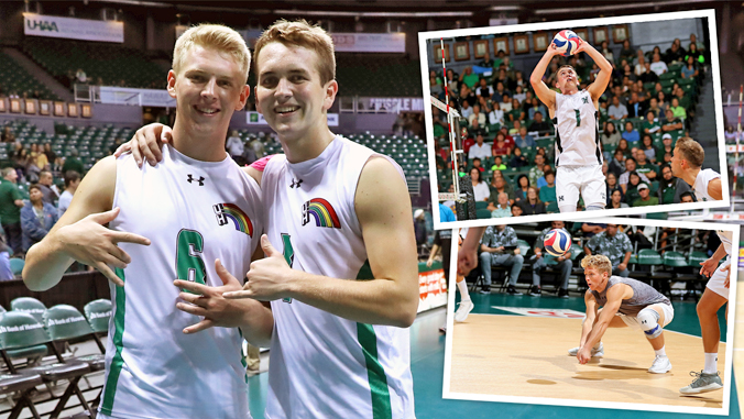 Joe and Gage Worsley posed photo and two volleyball action shots