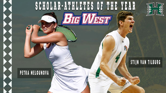 "Tilburg and Melounova with words ""Scholar-Athletes of the Year Big West"""