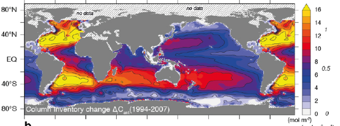 map colored coded to show changes in human produced CO2 in oceans