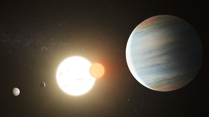 Artist's rendition of the Kepler-47 circumbinary planet system with its three planets. Image courtesy of NASA/J P L Caltech/T. Pyle