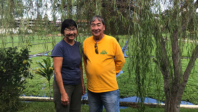 Barbara and David Sumida in front of their watercress farm
