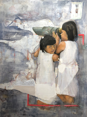 a painting of two girls looking through a telescope