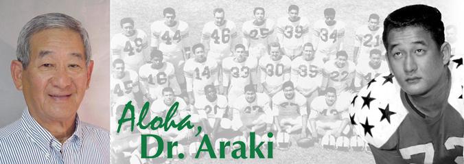 Charles Araki headshot and football photo