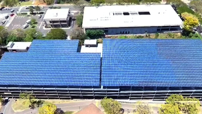 photovoltaic canopy on top of U H Manoa parking structure