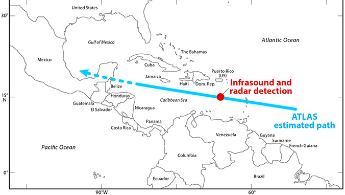 Map of Central America with the asteroid'd estimated path and actual detection location