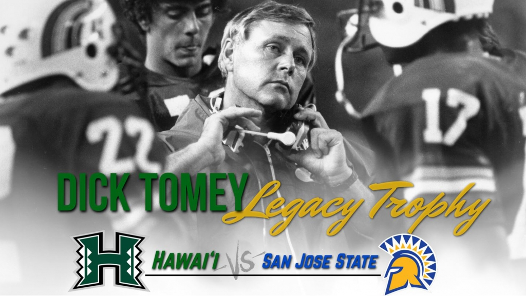 UH and San Jose St trophy Dick Tomey