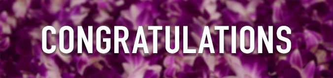 Congratulations, and purple flowers