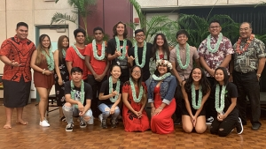 Group of students with lei