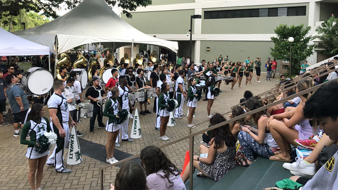 crowd watching U H cheerleaders