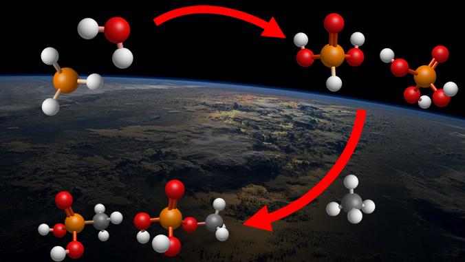 molecule diagram over image of Earth