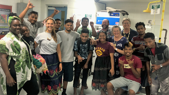 students and teachers in the Marshall Island lab
