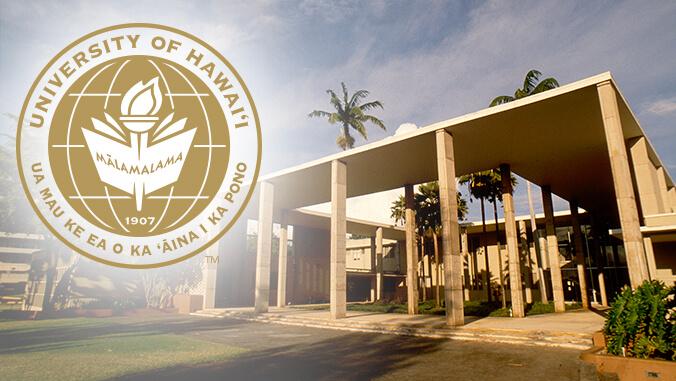 University of Hawaii seal and Bachman Hall