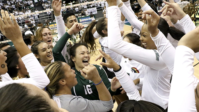 Rainbow Wahine celebrating