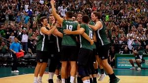 Men's volleyball team celebrating