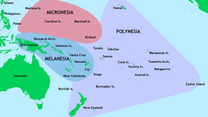 Map of Polynesia, Micronesia and Melanesia