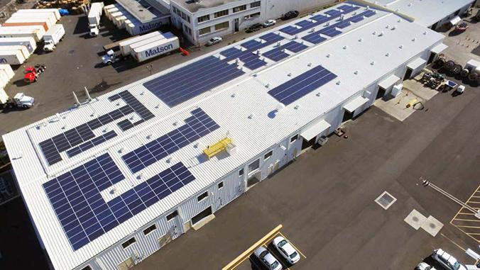 P V panels on roof