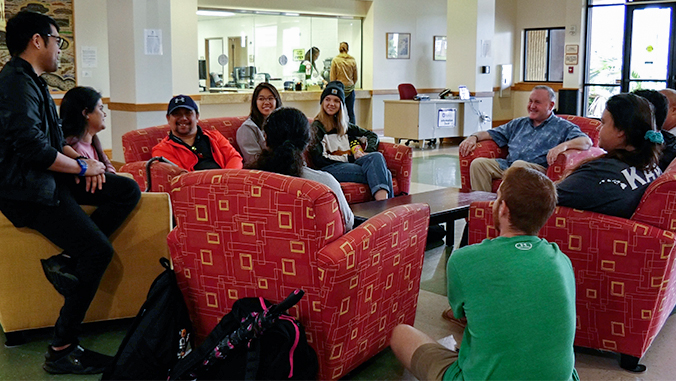 Chancellor Daisy with students