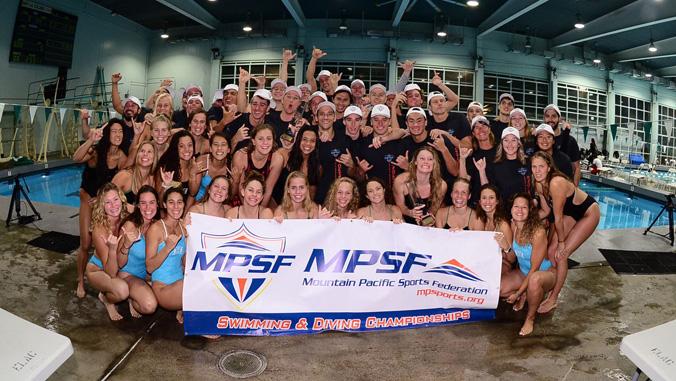 swim team with m p s f banner