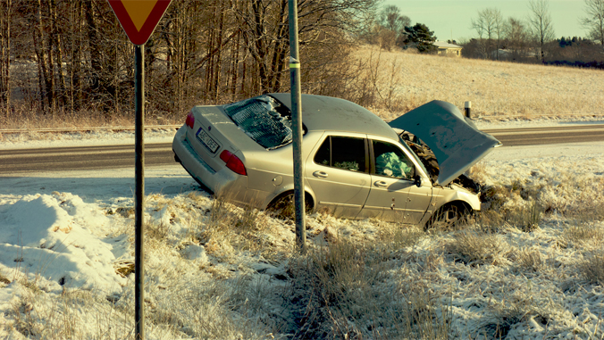 car crashed in snow