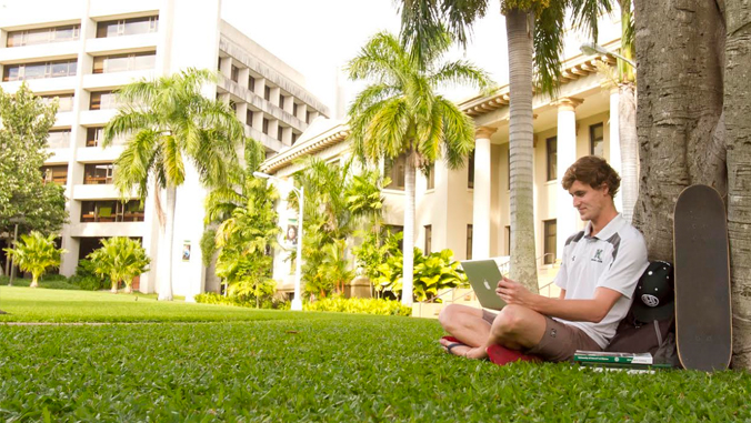 student sitting under tree studying