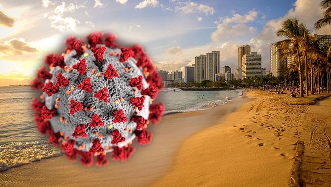 coronavirus with waikiki in the backdrop