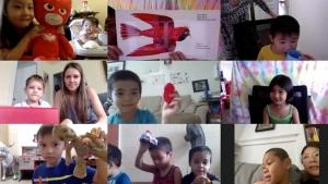 children on different screens