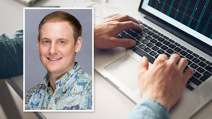 nathan hartmann headshot over photo of man typing