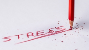 The word STRESS in red