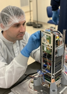 researcher integrating satellite