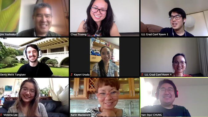 nine people on online conference call