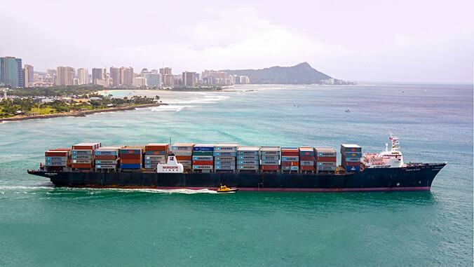 Large vessel in Honolulu waters