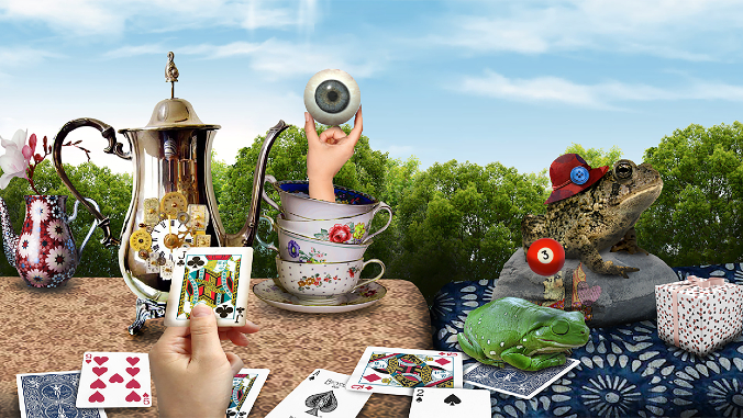 tea party with cards and frogs