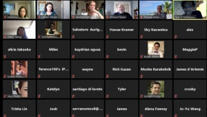 more than a dozen zoom conference screens