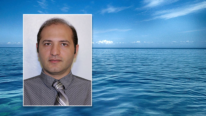 headshot of sayed bateni over a photo of water