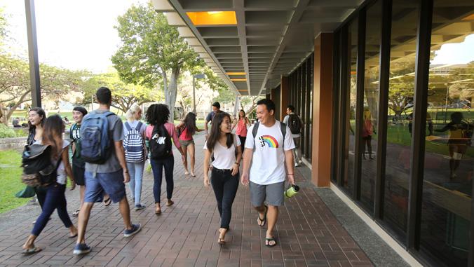 Students walking near Hamilton Library