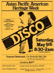 disco flyer for Asian Pacific American heritage week