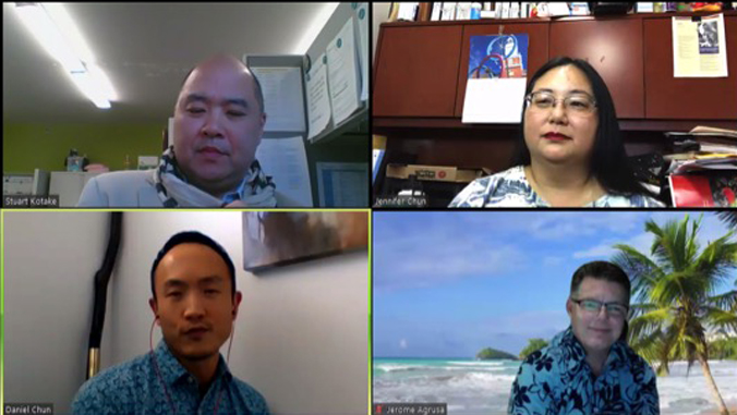 four people on a virtual conference