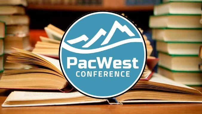 pacwest conference logo with books in background