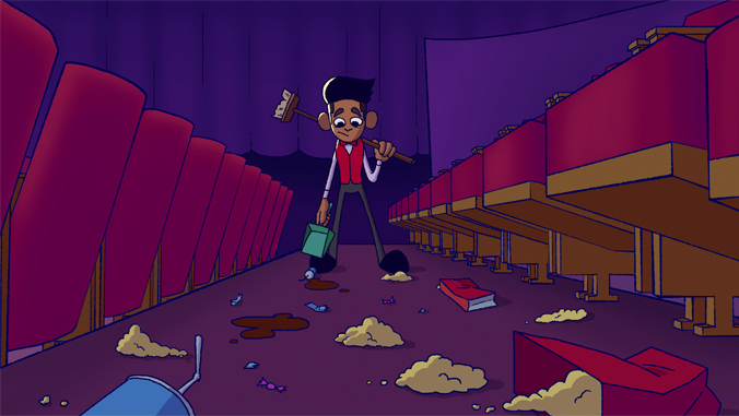 animation of a theater worker looking at trash