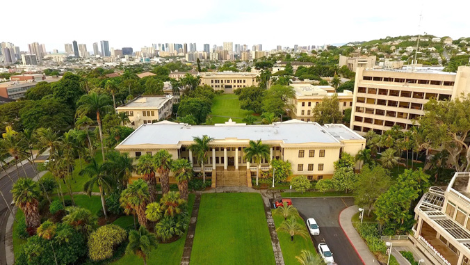Aerial view of Hawaii Hall and the quad
