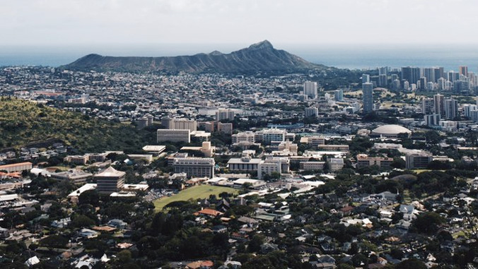 U H Manoa campus with Diamond Head in the background