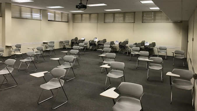 classroom reconfigured to accommodate social distancing