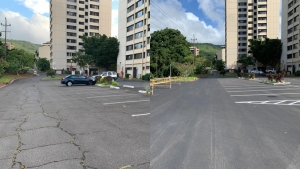 Before and after of student housing parking