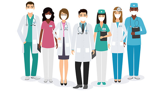 graphic of clinical health professionals with masks