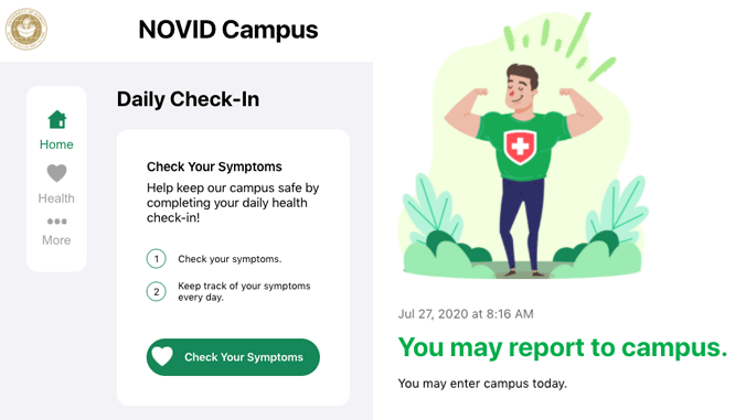 Health check-in app example