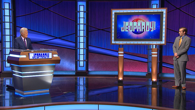 Jeff Rich on Jeopardy set with Alex Trebek